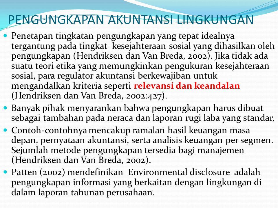 PENGUNGKAPAN AKUNTANSI LINGKUNGAN Penetapan tingkatan pengungkapan yang tepat idealnya tergantung pada tingkat kesejahteraan sosial yang dihasilkan oleh pengungkapan (Hendriksen dan Van Breda, 2002).