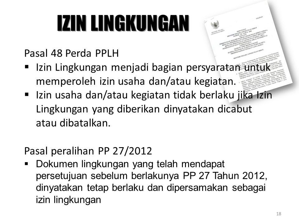Pasal 48 Perda PPLH  Izin Lingkungan menjadi bagian persyaratan untuk memperoleh izin usaha dan/atau kegiatan.  Izin usaha dan/atau kegiatan tidak b