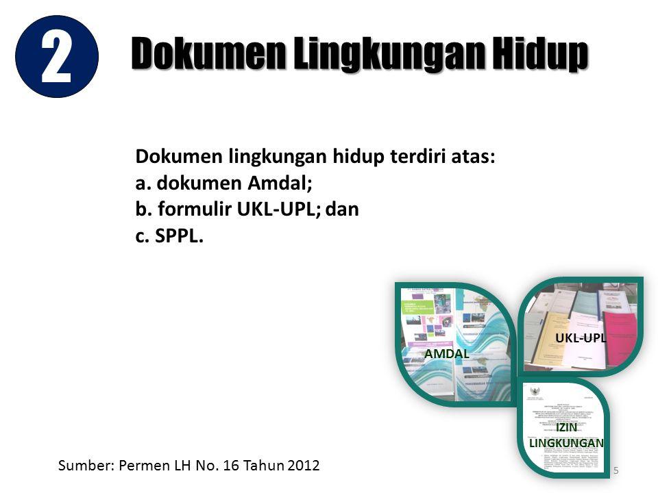 Dokumen Lingkungan Hidup 2 5 AMDAL UKL-UPL IZIN LINGKUNGAN Dokumen lingkungan hidup terdiri atas: a. dokumen Amdal; b. formulir UKL-UPL; dan c. SPPL.