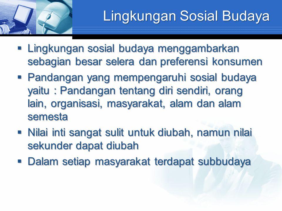 Lingkungan Sosial Budaya  Lingkungan sosial budaya menggambarkan sebagian besar selera dan preferensi konsumen  Pandangan yang mempengaruhi sosial b