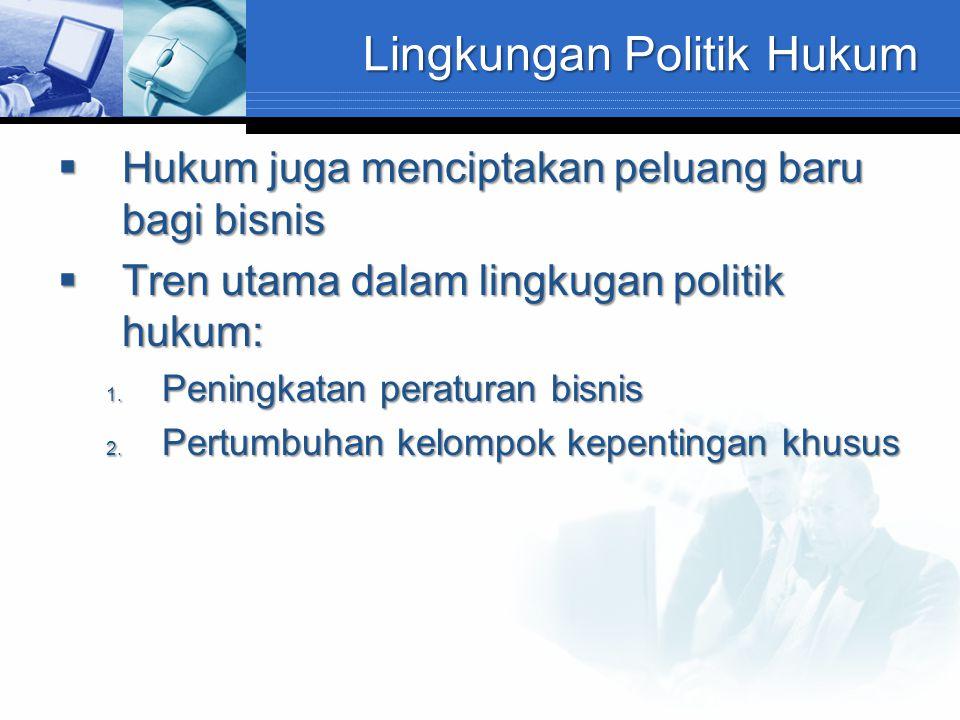 Lingkungan Politik Hukum  Hukum juga menciptakan peluang baru bagi bisnis  Tren utama dalam lingkugan politik hukum: 1. Peningkatan peraturan bisnis