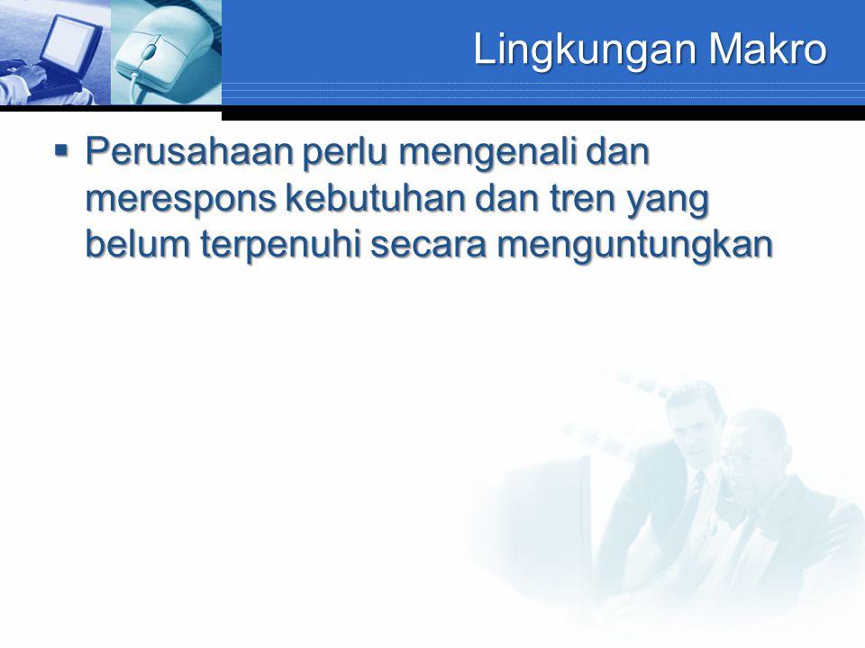 Lingkungan Makro Lingkungan Makro terdiri dari : -Lingkungan demografis -Lingkungan Ekonomi -Lingkungan Sosial Budaya -Lingkungan Alam -Lingkungan Teknologi -Lingkungan Politik Hukum