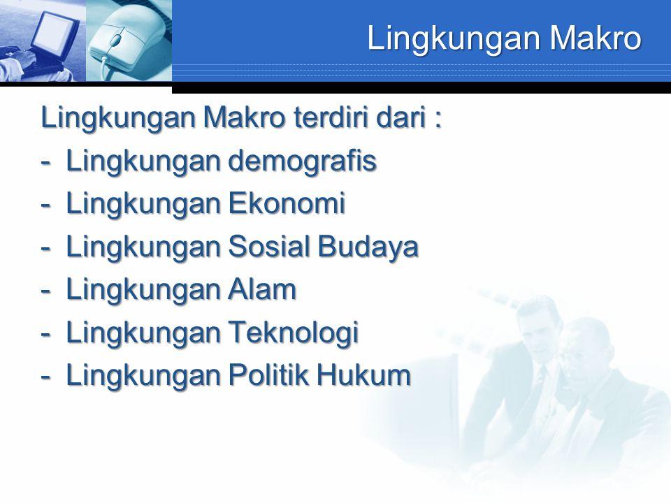 Lingkungan Makro Lingkungan Makro terdiri dari : -Lingkungan demografis -Lingkungan Ekonomi -Lingkungan Sosial Budaya -Lingkungan Alam -Lingkungan Tek