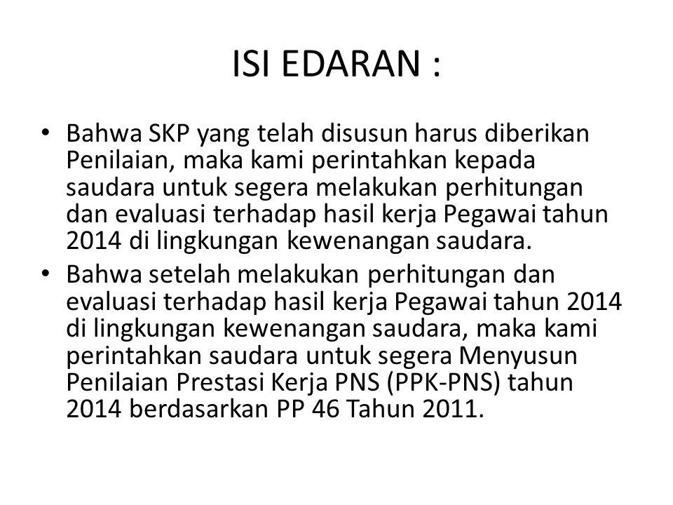 ISI EDARAN (2) : Sehubungan dengan akan berakhirnya tahun kerja 2014, kami sampaikan hal-hal sebagai berikut: Untuk segera melakukan Penyusunan Sasaran Kerja Pegawai (SKP) tahun 2015 terhadap pegawai di lingkungan kerja saudara.