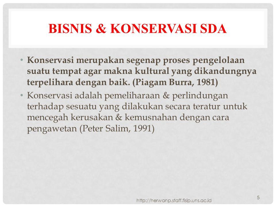 BISNIS & KONSERVASI SDA Konservasi merupakan segenap proses pengelolaan suatu tempat agar makna kultural yang dikandungnya terpelihara dengan baik. (P