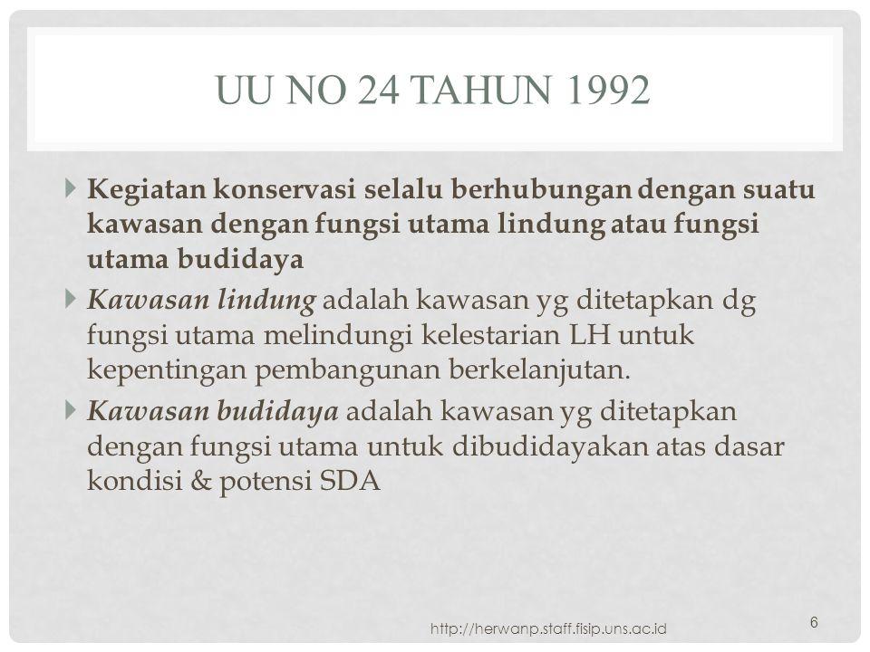 UU NO 24 TAHUN 1992  Kegiatan konservasi selalu berhubungan dengan suatu kawasan dengan fungsi utama lindung atau fungsi utama budidaya  Kawasan lin