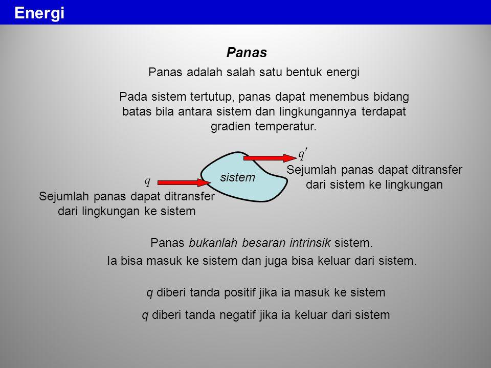 Panas Panas adalah salah satu bentuk energi Panas bukanlah besaran intrinsik sistem. Ia bisa masuk ke sistem dan juga bisa keluar dari sistem. Pada si