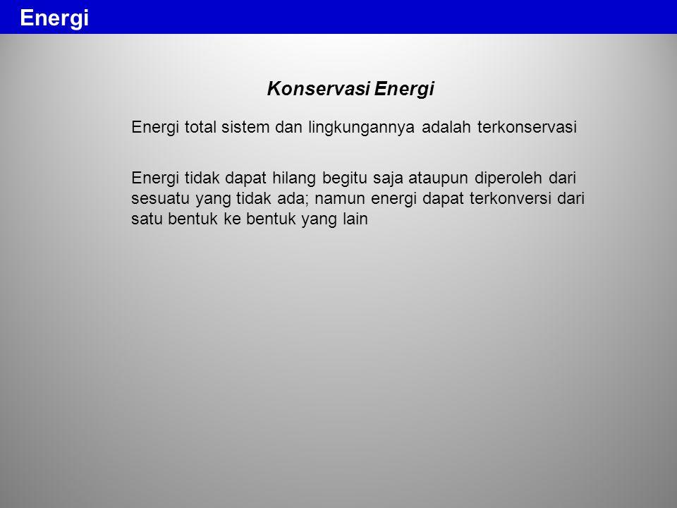 Konservasi Energi Energi total sistem dan lingkungannya adalah terkonservasi Energi tidak dapat hilang begitu saja ataupun diperoleh dari sesuatu yang