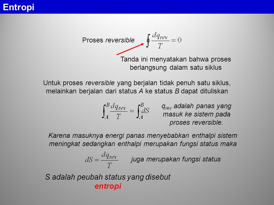 Entropi Proses reversible Tanda ini menyatakan bahwa proses berlangsung dalam satu siklus Untuk proses reversible yang berjalan tidak penuh satu siklu