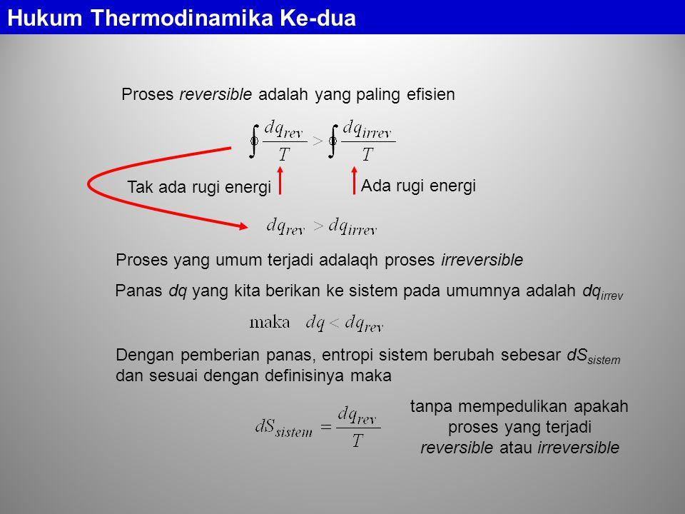 Hukum Thermodinamika Ke-dua Proses reversible adalah yang paling efisien Tak ada rugi energi Ada rugi energi Proses yang umum terjadi adalaqh proses i