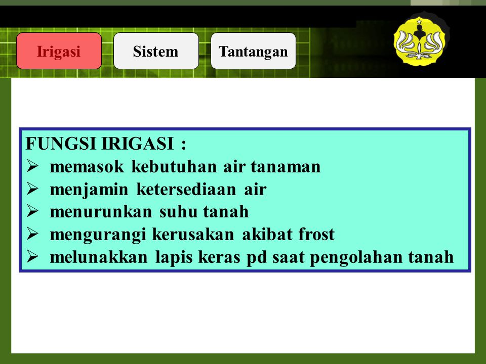 IrigasiSistem Tantangan Takrif Teknologi(2)  the aplication of science, especially to industrial or commercial objectives.