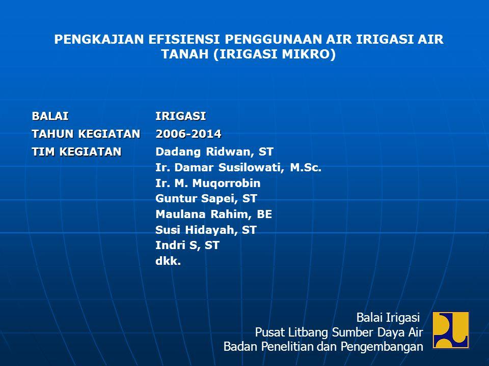 BALAIIRIGASI TAHUN KEGIATAN 2006-2014 TIM KEGIATAN Dadang Ridwan, ST Ir. Damar Susilowati, M.Sc. Ir. M. Muqorrobin Guntur Sapei, ST Maulana Rahim, BE