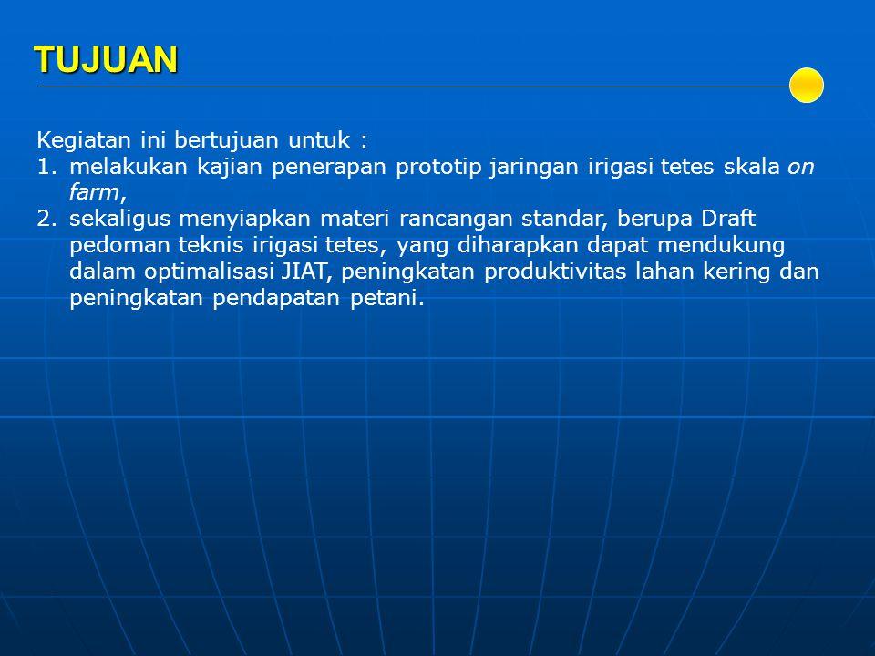 Balai Irigasi, 2009, Akhir Interm Penelitian Jaringan Irigasi Non Padi (JINP), Bekasi.