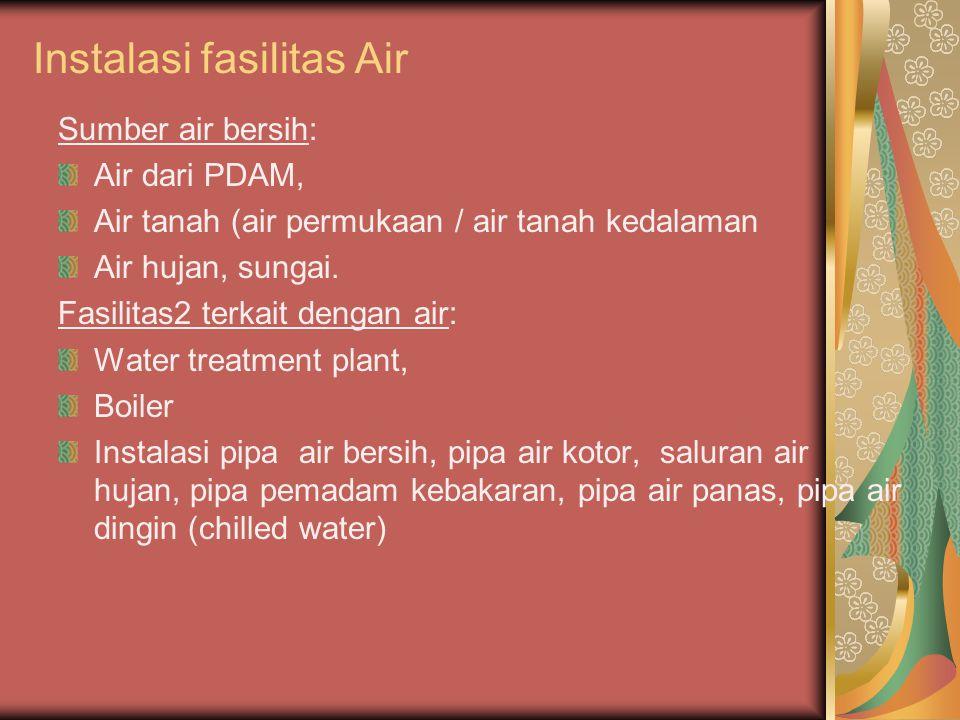 Instalasi fasilitas Air Sumber air bersih: Air dari PDAM, Air tanah (air permukaan / air tanah kedalaman Air hujan, sungai. Fasilitas2 terkait dengan