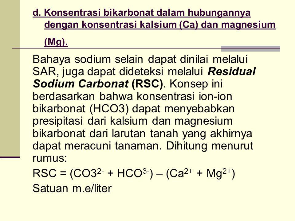 d. Konsentrasi bikarbonat dalam hubungannya dengan konsentrasi kalsium (Ca) dan magnesium (Mg). Bahaya sodium selain dapat dinilai melalui SAR, juga d
