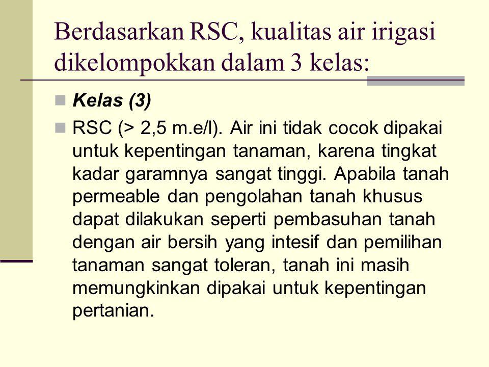 Berdasarkan RSC, kualitas air irigasi dikelompokkan dalam 3 kelas: Kelas (3) RSC (> 2,5 m.e/l).