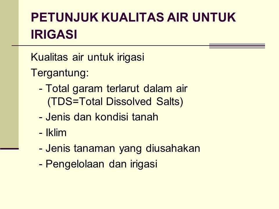 PETUNJUK KUALITAS AIR UNTUK IRIGASI Kualitas air untuk irigasi Tergantung: - Total garam terlarut dalam air (TDS=Total Dissolved Salts) - Jenis dan kondisi tanah - Iklim - Jenis tanaman yang diusahakan - Pengelolaan dan irigasi