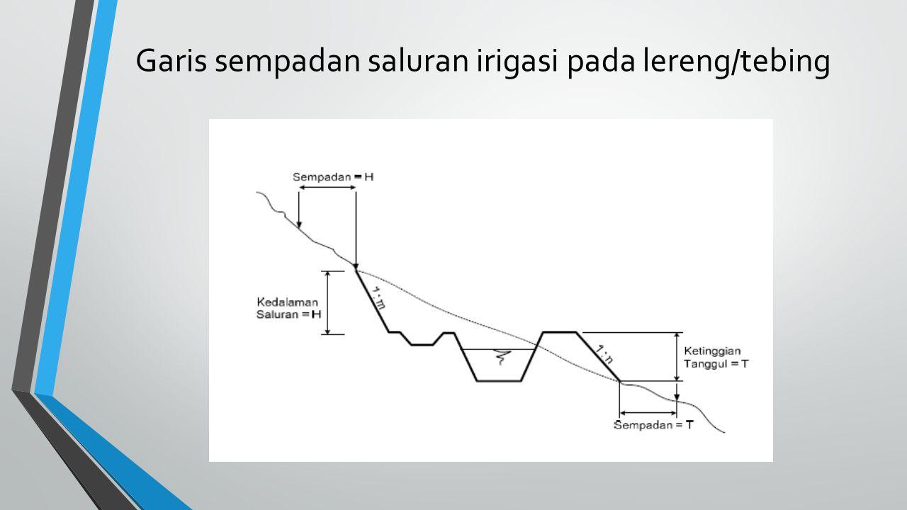 Garis sempadan saluran irigasi pada lereng/tebing