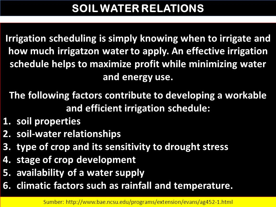 SOIL WATER RELATIONS Irrigation scheduling is simply knowing when to irrigate and how much irrigatzon water to apply. An effective irrigation schedule