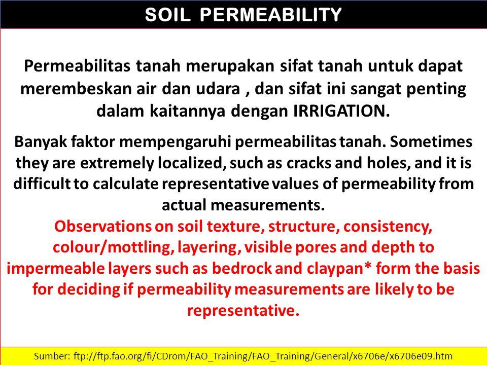 SOIL PERMEABILITY Permeabilitas tanah merupakan sifat tanah untuk dapat merembeskan air dan udara, dan sifat ini sangat penting dalam kaitannya dengan