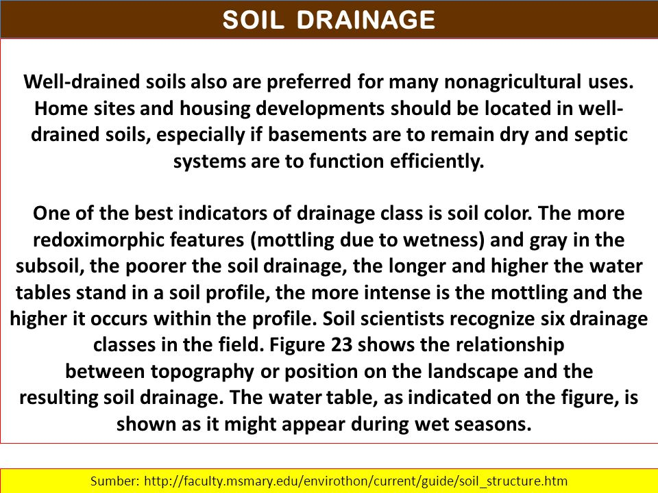 SOIL DRAINAGE Well-drained soils also are preferred for many nonagricultural uses. Home sites and housing developments should be located in well- drai