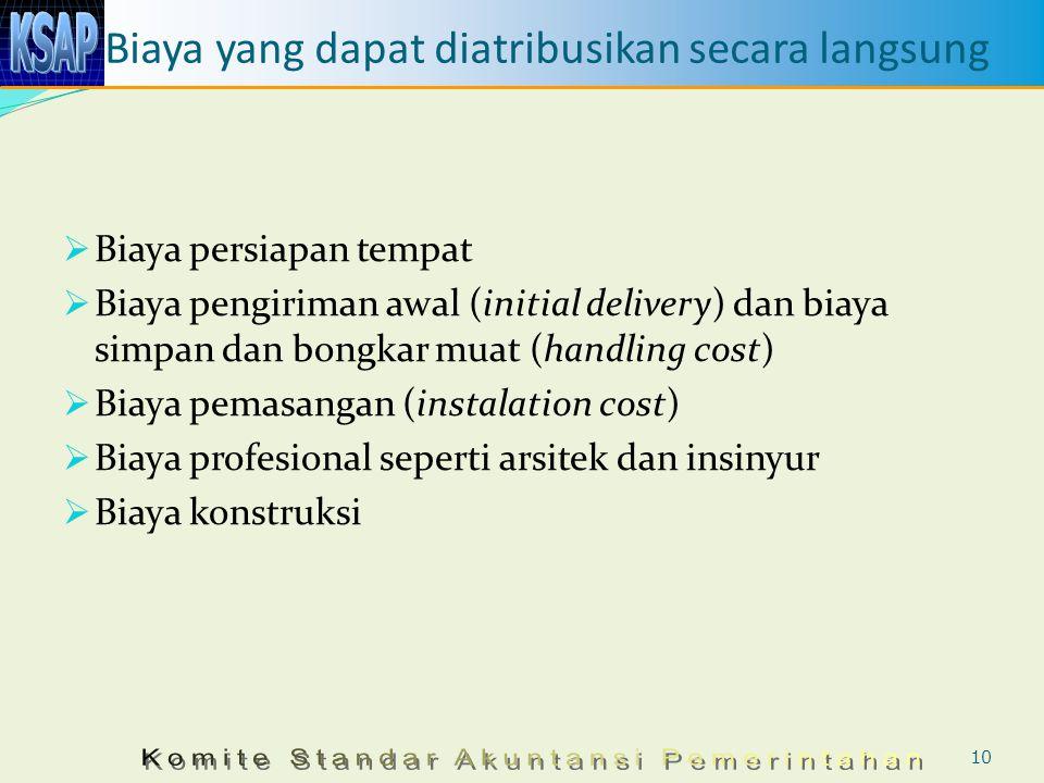 Biaya yang dapat diatribusikan secara langsung  Biaya persiapan tempat  Biaya pengiriman awal (initial delivery) dan biaya simpan dan bongkar muat (