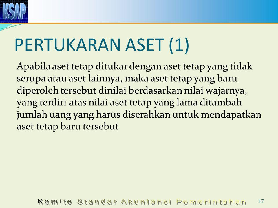 PERTUKARAN ASET (1) Apabila aset tetap ditukar dengan aset tetap yang tidak serupa atau aset lainnya, maka aset tetap yang baru diperoleh tersebut din