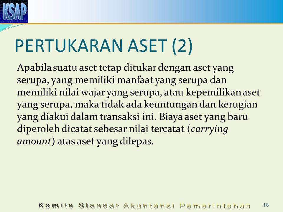 PERTUKARAN ASET (2) Apabila suatu aset tetap ditukar dengan aset yang serupa, yang memiliki manfaat yang serupa dan memiliki nilai wajar yang serupa,