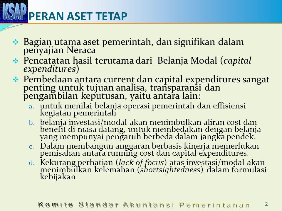 PERAN ASET TETAP  Bagian utama aset pemerintah, dan signifikan dalam penyajian Neraca  Pencatatan hasil terutama dari Belanja Modal (capital expendi