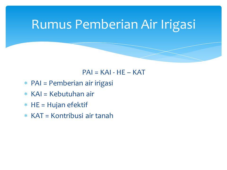 PAI = KAI - HE – KAT  PAI = Pemberian air irigasi  KAI = Kebutuhan air  HE = Hujan efektif  KAT = Kontribusi air tanah Rumus Pemberian Air Irigasi