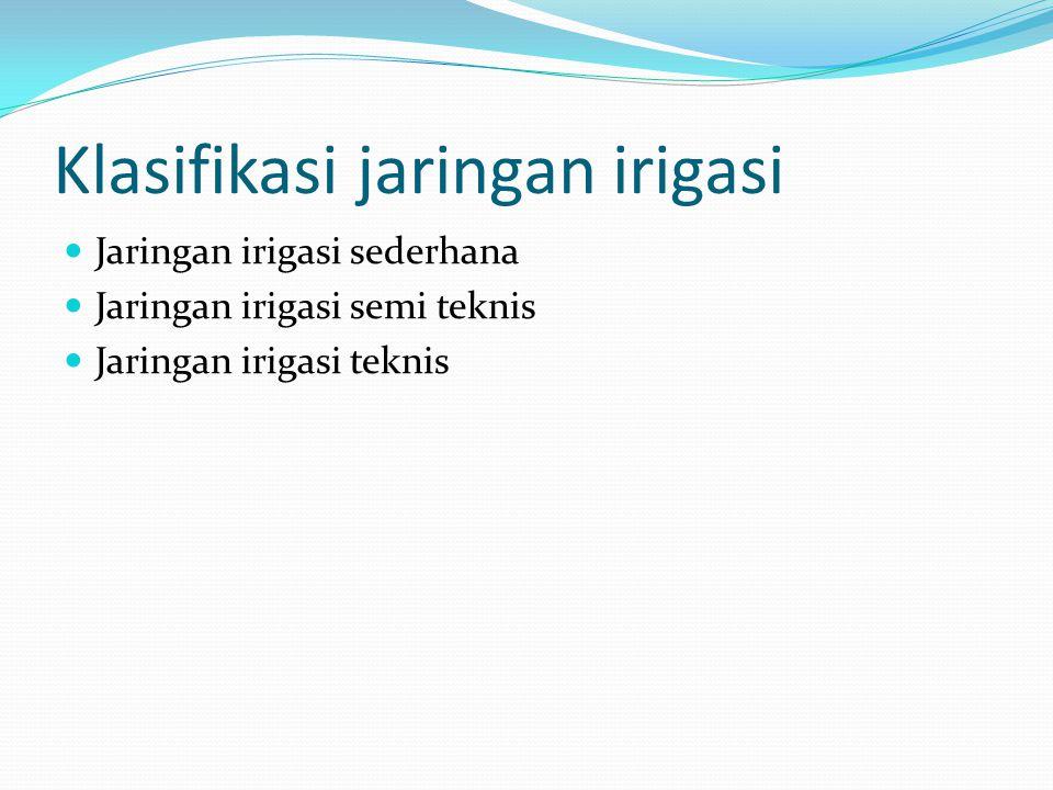 Klasifikasi jaringan irigasi Jaringan irigasi sederhana Jaringan irigasi semi teknis Jaringan irigasi teknis