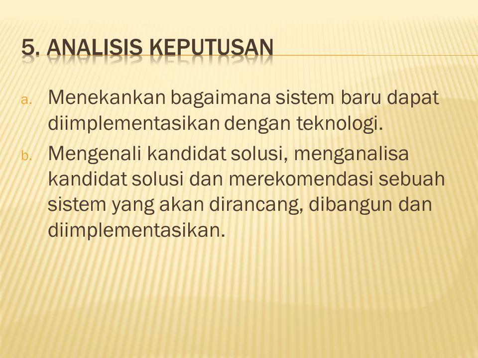 a. Menekankan bagaimana sistem baru dapat diimplementasikan dengan teknologi. b. Mengenali kandidat solusi, menganalisa kandidat solusi dan merekomend