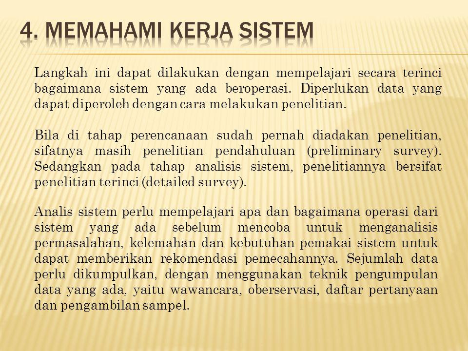 Langkah ini dapat dilakukan dengan mempelajari secara terinci bagaimana sistem yang ada beroperasi. Diperlukan data yang dapat diperoleh dengan cara m