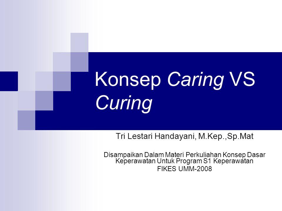 Konsep Caring VS Curing Tri Lestari Handayani, M.Kep.,Sp.Mat Disampaikan Dalam Materi Perkuliahan Konsep Dasar Keperawatan Untuk Program S1 Keperawatan FIKES UMM-2008