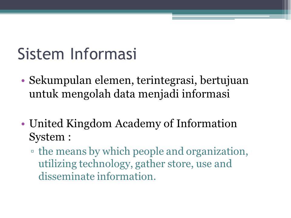 Sistem Informasi Sekumpulan elemen, terintegrasi, bertujuan untuk mengolah data menjadi informasi United Kingdom Academy of Information System : ▫the