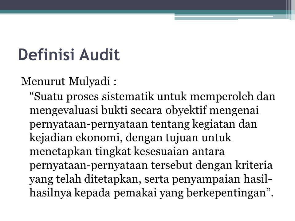 "Definisi Audit Menurut Mulyadi : ""Suatu proses sistematik untuk memperoleh dan mengevaluasi bukti secara obyektif mengenai pernyataan-pernyataan tenta"