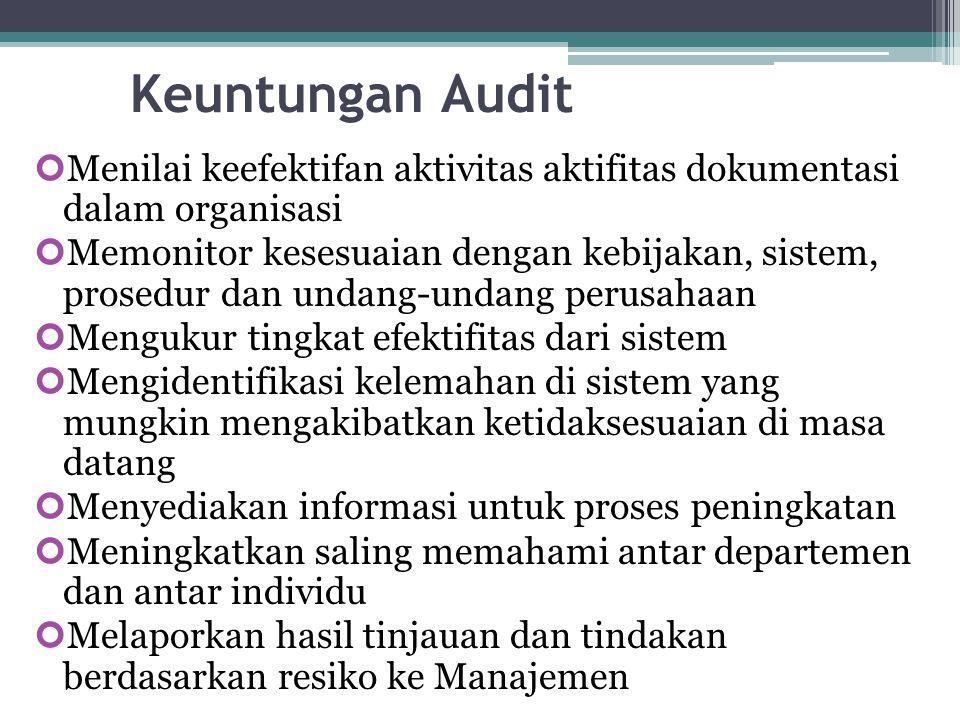 Keuntungan Audit Menilai keefektifan aktivitas aktifitas dokumentasi dalam organisasi Memonitor kesesuaian dengan kebijakan, sistem, prosedur dan unda