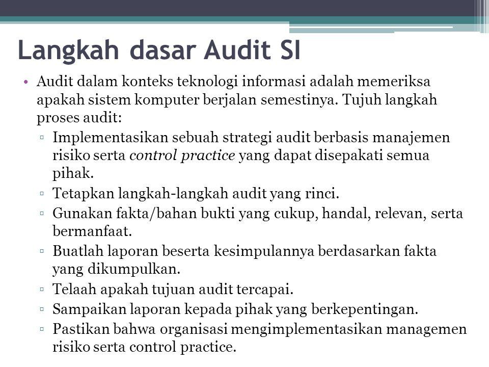 Langkah dasar Audit SI Audit dalam konteks teknologi informasi adalah memeriksa apakah sistem komputer berjalan semestinya.