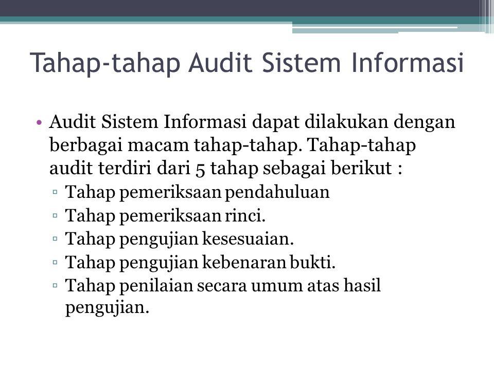 Tahap-tahap Audit Sistem Informasi Audit Sistem Informasi dapat dilakukan dengan berbagai macam tahap-tahap. Tahap-tahap audit terdiri dari 5 tahap se