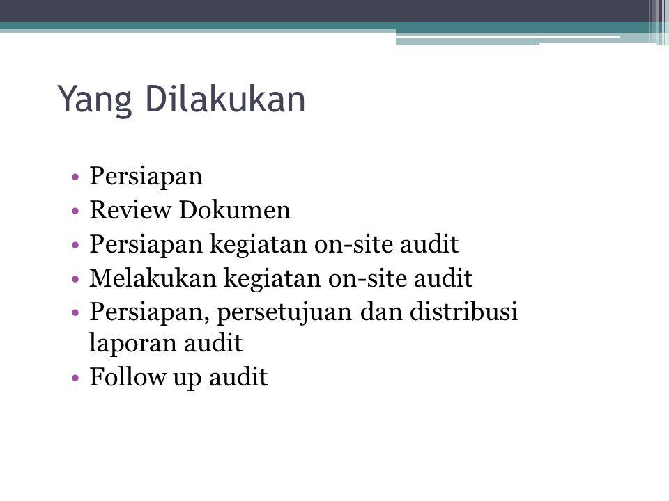 Yang Dilakukan Persiapan Review Dokumen Persiapan kegiatan on-site audit Melakukan kegiatan on-site audit Persiapan, persetujuan dan distribusi laporan audit Follow up audit