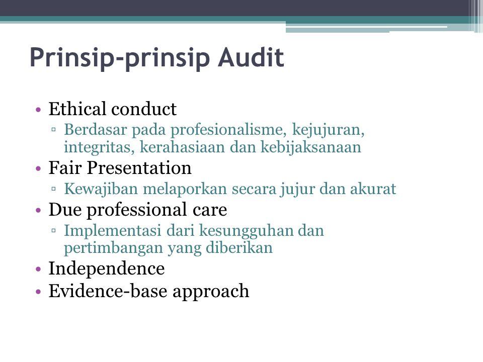 Prinsip-prinsip Audit Ethical conduct ▫Berdasar pada profesionalisme, kejujuran, integritas, kerahasiaan dan kebijaksanaan Fair Presentation ▫Kewajiban melaporkan secara jujur dan akurat Due professional care ▫Implementasi dari kesungguhan dan pertimbangan yang diberikan Independence Evidence-base approach