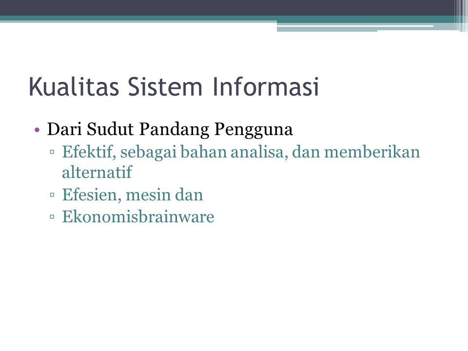 Kualitas Sistem Informasi Dari Sudut Pandang Pengguna ▫Efektif, sebagai bahan analisa, dan memberikan alternatif ▫Efesien, mesin dan ▫Ekonomisbrainware