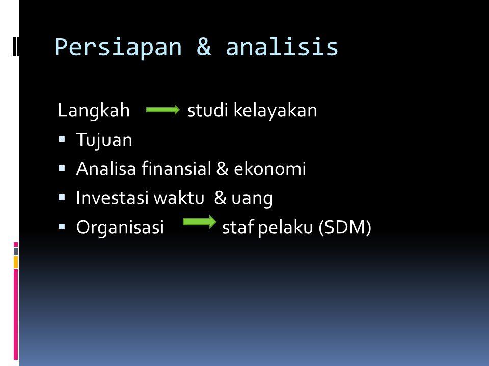 Persiapan & analisis Langkah studi kelayakan  Tujuan  Analisa finansial & ekonomi  Investasi waktu & uang  Organisasi staf pelaku (SDM)