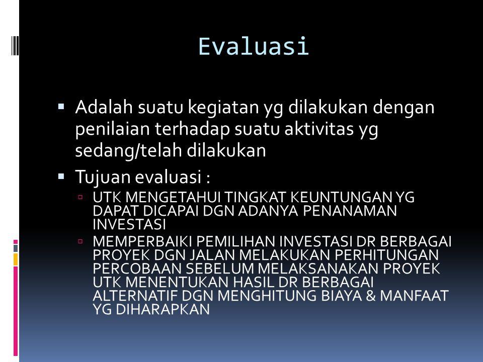 Evaluasi  Adalah suatu kegiatan yg dilakukan dengan penilaian terhadap suatu aktivitas yg sedang/telah dilakukan  Tujuan evaluasi :  UTK MENGETAHUI