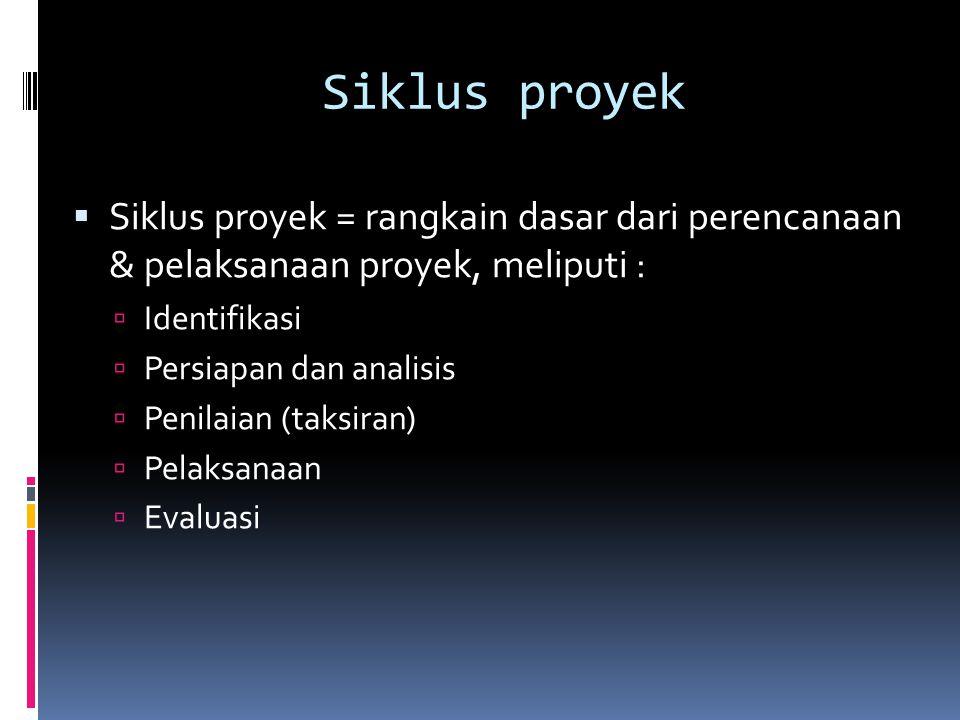 Siklus proyek  Siklus proyek = rangkain dasar dari perencanaan & pelaksanaan proyek, meliputi :  Identifikasi  Persiapan dan analisis  Penilaian (