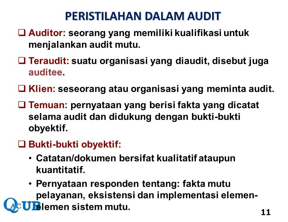  Auditor: seorang yang memiliki kualifikasi untuk menjalankan audit mutu.  Teraudit: suatu organisasi yang diaudit, disebut juga auditee.  Klien: s