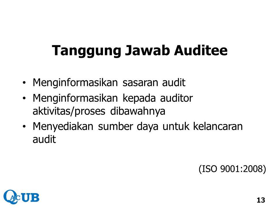 Tanggung Jawab Auditee Menginformasikan sasaran audit Menginformasikan kepada auditor aktivitas/proses dibawahnya Menyediakan sumber daya untuk kelanc
