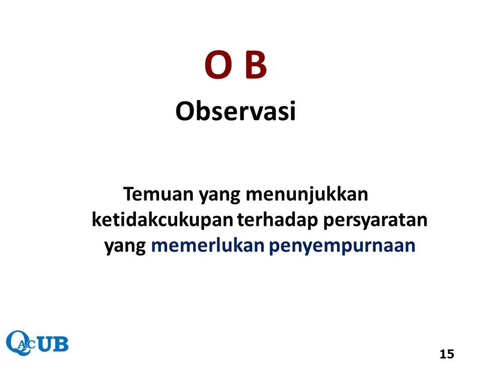 Observasi Temuan yang menunjukkan ketidakcukupan terhadap persyaratan yang memerlukan penyempurnaan 15 O B