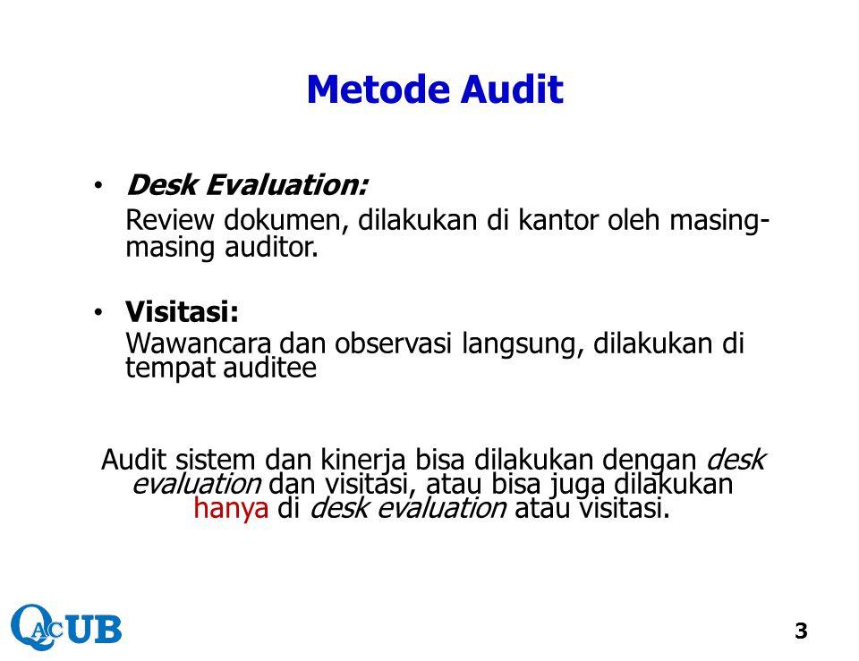 Metode Audit Desk Evaluation: Review dokumen, dilakukan di kantor oleh masing- masing auditor. Visitasi: Wawancara dan observasi langsung, dilakukan d