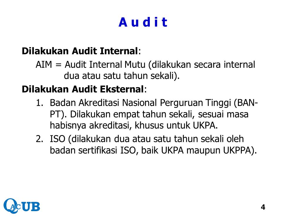A u d i t Dilakukan Audit Internal: AIM = Audit Internal Mutu (dilakukan secara internal dua atau satu tahun sekali). Dilakukan Audit Eksternal: 1.Bad